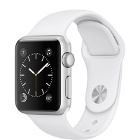 Apple Watch Series 1 38mm Silver Aluminum Case with White Sport Band (MNNG2) US