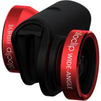 OLLOCLIP 4-in-1 Lens System- iPhone 5/5S Red Lens/Black