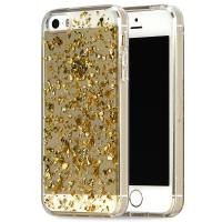 ONN Clear Case with Gold Flecks for iPhone 5/5s/SE