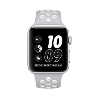 Apple Watch Nike+42mm Silver Aluminum Case with Silver/White Nike Sport  Band (MNNT2)