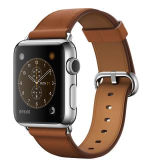 Фото - Apple Watch 38mm Stainless Steel with Saddle Brown Classic Buckle (MMF72) (US)