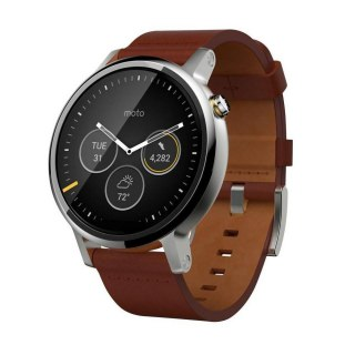 Motorola Moto 360 2nd Gen. Men-s 46mm Steel - Silver/Cognac Leather A
