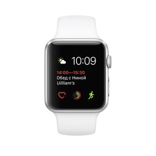 Фото - Apple Watch Series 1 42mm silver aluminium case w/white sport band MNNL2 (US)