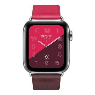 Фото - Apple Watch Hermes Series 4 GPS + LTE 40mm Steel w. Bordeaux/Rose Extreme/Rose Azalee Leather (MU702)