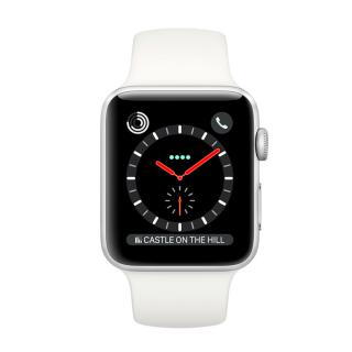 Фото - Apple Watch Series 3 GPS + Cellular 38mm Stainless Steel w. Soft White Sport B. (MQJV2)