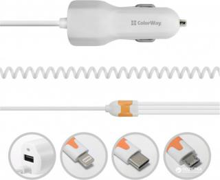 COLOR WAY 3в1 (MicroUSB+Type-C+Lightning) 1USB 3.1A AЗУ White