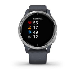Фото - Garmin Venu Silver Stainless Steel Bezel w. Granite Blue and Silicone B. (010-02173-01)