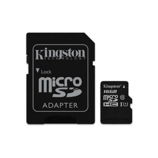 Фото - KINGSTON 16GB microSDHC C10 UHS-I R45/W10MB/s + SD адаптер
